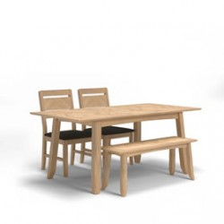 Parquet Oak Extended Dining Table and 2 Benches
