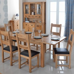 Rustic Oak 132-198 cm Extending Dining Table and 6 Chairs