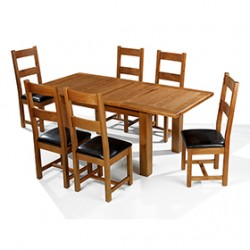 Emsworth Oak 132-198 cm Extending Dining Table and 6 Chairs