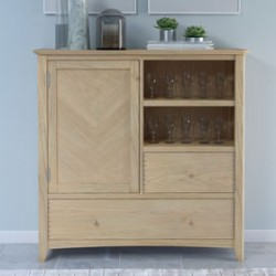 Parquet Oak Large Drinks Cabinet