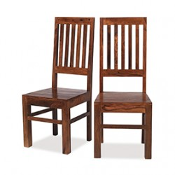 Cuba Sheesham High Back Slat Dining Chairs - Pair
