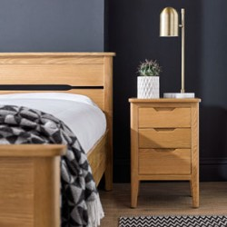 Harkus Oak 3 Drawer Bedside