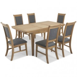 Loraine Natural Oak Living & Dining Ext Dining Table with 6 Chairs