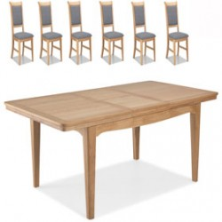 Loraine Natural Oak Living & Dining Ext Dining Table 150/200cm and 6 Chairs