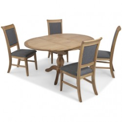 Loraine Natural Oak Living & Dining Circular Extended Dining Table and 4 Chairs