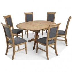 Loraine Natural Oak Living & Dining Circular Extended Dining Table and 6 Chairs