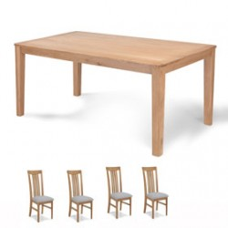 Cadley Oak 150cm Dining table and 4 Chairs