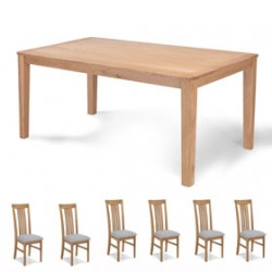 Cadley Oak 150cm Dining table and 6 Chairs