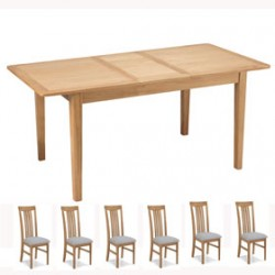 Cadley Oak Extended Dining table and 6 Chairs