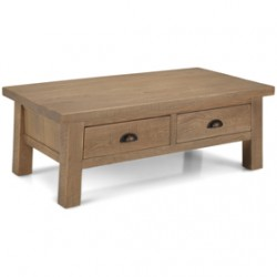 Howland Rough Sawn Oak Coffee Table With Drawers