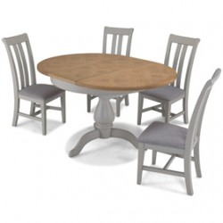 Chaldon Painted Oval Extended Dining Table with 4 Chairs