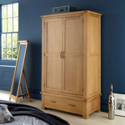 Kingham Oak Double Wardrobe with Drawer