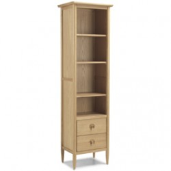 Skioa Oak Slim Bookcase With Drawer