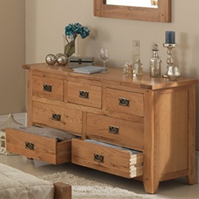 Rustic Oak 7 Drawer Wide Chest of Drawers