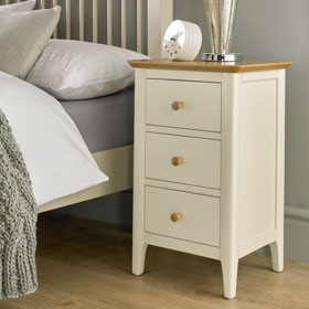 Mariah Painted 3 Drawer Bedside Cabinet