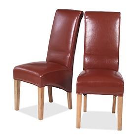 Cuba Oak Bonded Leather Dining Chairs Red - Pair