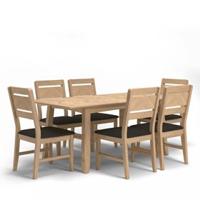 Parquet Oak Extended Dining Table and 6 Chairs