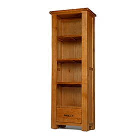 Emsworth Oak Slim Bookcase with Drawer