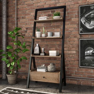 Riverside Industrial Oak Ladder Bookcase