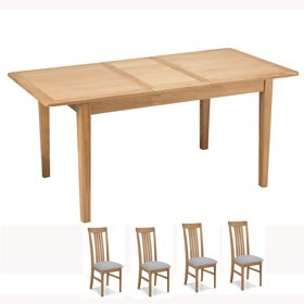 Enfield Oak 120/160cm Extended Dining Table and 4 Chairs