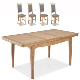 Loraine Natural Oak Living & Dining Ext Dining Table 150/200cm and 4 Chairs
