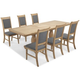 Loraine Natural Oak Living & Dining Pedestal Ext Dining Table 180/230cm and 6 Chairs
