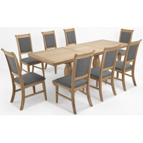Loraine Natural Oak Living & Dining Pedestal Ext Dining Table 180/230cm and 8 Chairs