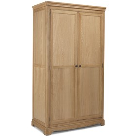 Loraine Natural Oak Bedroom Full Hanging Double Wardrobe