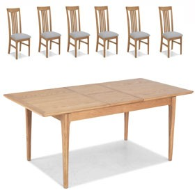 Enfield Oak 120/160cm Extended Dining Table and 6 Chairs