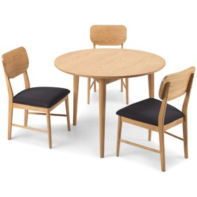 Skioa Oak Circular Dining Table With 2 Chairs